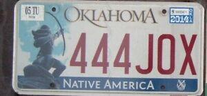OKLAHOMA 2014  License Plate -  Man Cave -  Bar - Garage -  444 JOX   Triple 4 s