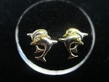 Dolphins Child Screw Back Earrings in 14K GOLD