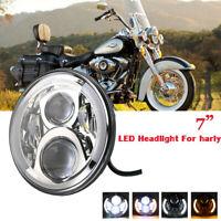 7 Zoll Haupt LED Scheinwerfer DRL Hi/lo Beam Chrom für Harley Davidson Jeep