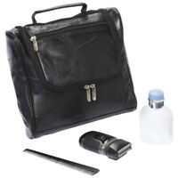 Embassy Genuine Lambskin Leather Black Toiletry Travel Bag