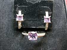 Ring Set - Attractive To The Max Sterling Silver Amethyst & Diamond Earrings &