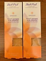 (2) Buf Puf Singles Facial Sponges With Cleanser Normal To Dry Skin 40 Each Box