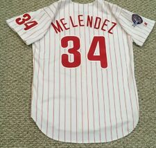 MELENDEZ size 44 #34 1995 Phillies home white game jersey KNIT MLB customized