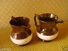 PAIRE ANCIENS PICHETS FAIENCE JERSEY...XIXème...Antique pitchers Jersey...2