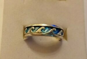 Sterling silver enamelled wave ring size M/N