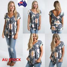 Boho Women V Neck Floral Short Sleeve Shirt Ladies Casual Slim Tops Tee Blouse