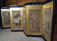 EXQUISITE JAPANESE FOLDING SCREEN TAWARAYA SOTATSU Edo Rinpa Antique Inen Byobu