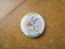 Vintage 1950s Happy Easter Easter Bunny Pinback Button Store Giveaway Cute!