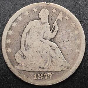 1877 Seated 50c (Half Dollar) Motto - Good Condition