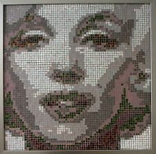 Marylin Monroe Glass Mosaic /Mounted on Wood / Framed /Hand Cut  Technique