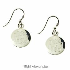 925 Sterling Silver Round Monogram Personalized Earrings