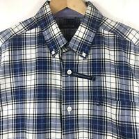 Nautica Mens Long Sleeve Button Down Navy Blue Tartan Plaid Shirt Wrinkle Free