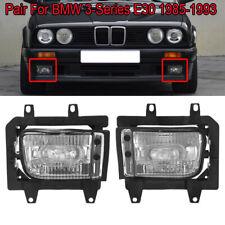 Pair For BMW E30 3-Series 1985-1993 Front Fog Light Lamp Clear Plastic Lens Kit