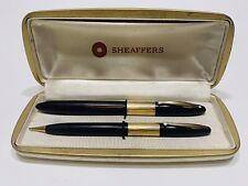 Vintage Sheaffer Triumph WD Black GF Vac-Fil 14K Nib Fine Fountain Pen & Pencil
