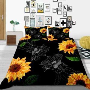Milsleep 2021 Bed 3D Yellow Sunflower Design Bed Comforter Cover Set Queen/King