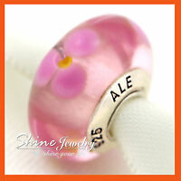 925 SILVER PINK FLOWER MURANO GLASS EUROPEAN BEADS CHARMS for BRACELET NECKLACE