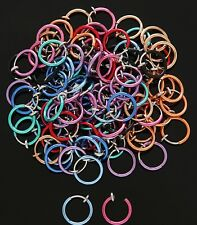 10pc Neon Finish Spring Action Fake Faux Septum, Nose Hoop, Lip Ring, Earring