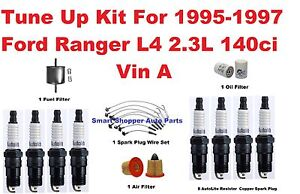 Tune Up Kit For 95-97 Ford Ranger L4  Spark Plug Wire Set, Oil Air Fuel Filter