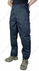 Mens DARK BLUE ARMY NAVY BDU COMBAT TROUSERS - All Sizes Tough Military Pants