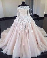 Blush/Pink Luxury A-line Princess Wedding Dresses Lace Long Sleeve Bridal Gowns