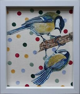 Original blue tit great tit picture painting emma bridgewater polka dot fabric