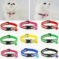 2x Pet Cat Dog Puppy Glossy Collar Safety Buckle Bell Adjustable Strap Bright