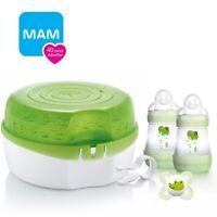 MAM Microwave Steam Steriliser & Feeding Bottles Baby Starter Set Tongs Soother