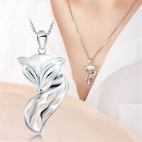 Fashion Silver 925 Fox Animals Women Hollow Pendant Necklace Chain Jewelry Lot