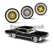 1/64 Scale White Frame Alloy Wheels Rubber Tires for Matchbox,Tomy,Tarmac Works