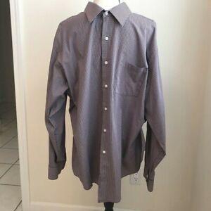 NEW VAN HEUSEN MENS 18 34/35 PURPLE CHECKERED COTTON BLEND L/S DRESS SHIRT NWT