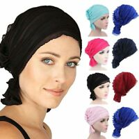 Bandana Ruffle Chiffon Scarf Head Wrap Turban Women Cancer Chemo Hat Beanie Cap