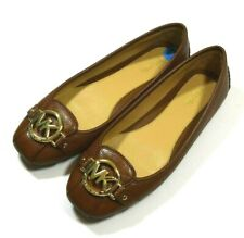 Michael Kors Women's Fulton Moccasin Brown Leather Ballet Flats Gold Logo 7.5