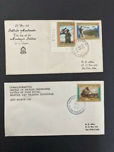Postal History Honduras 2 Covers Day of Soldier 1970 & Defeat of British 1977