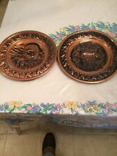 Two Vintage 13 Inch Copper Wall Plaques