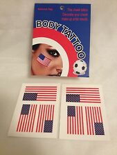 AMERICAN FLAG USA RED WHITE BLUE FACE OR BODY TEMPORARY TATTOO 1 PACK (6 PIECE)