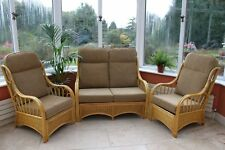 Sorrento Cane Conservatory Furniture 3 Piece Suite - 2 Chairs and a Sofa-coffee