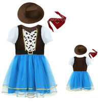 Girls Princess Cowgirl Costumes Kids Fancy Dresses UP Cosplay Party Gown Outfits