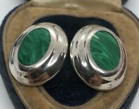 Vintage Sterling Silver Earrings 925 Taxco Mexico Modernist Malachite
