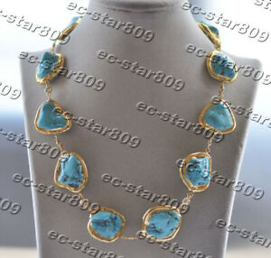 """Z11355 20"""" 30mm Baroque Blue Turquoise Yellow Gold Plate Bead CZ Necklace"""