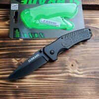 Schrade Black Aluminum Handle Plain Edge Linerlock Folding Pocket Knife SCH206