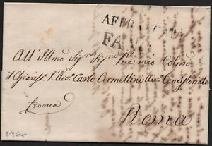 ✔️ ITALY 1845. RARE STAMPLESS DOCUMENT LETTER Prefilatelica FANO TO ROMA