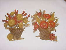 Set Of 2 Fall Flower Wall Plaques Dated 1977 Usa Homco Home Interior