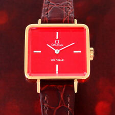 VINTAGE COLLECTABLE OMEGA DE VILLE LADIES MANUAL 18K-GP RED DIAL WATCH