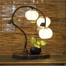 White Paper Ball Art Deco Shade Lantern Asian Table Brown Touch Lamp Light