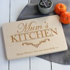 Mum's Kitchen Personalised Wooden Engraved Chopping Board, Mummy, Grandma, Nana