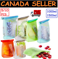 Reusable Food Storage Bags Zip lock Silicone Washable Lunch Baggies for Food CA