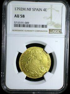 Kingdom of Spain 1792 M MF Gold 4 Escudos *NGC AU-58* >RARE< Sharp & Lustrous