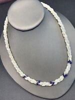 """Twisted 3 Strand Mother Of Pearl Blue  Stone Necklace. Bohemian  Shell 18"""""""