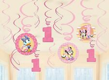 Baby Minnie Mouse 1st Birthday 12pc Dangling Swirl First Decoration Party Supply