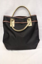 LANCEL Black & Brown Canvas Handbag/Tote, LARGE, Beige Double Handle-B5